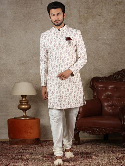 Cream cotton silk indo western fot men