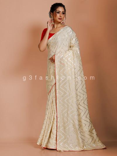 Cream dola silk leheriya saree