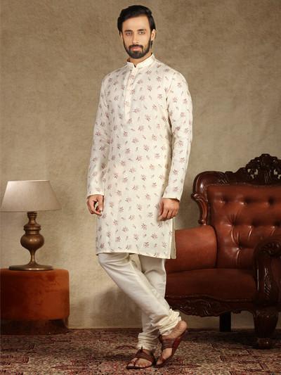 Cream full sleeve cotton kurta suit