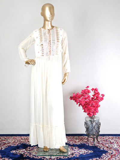 Cream georgette pant style suit for festive