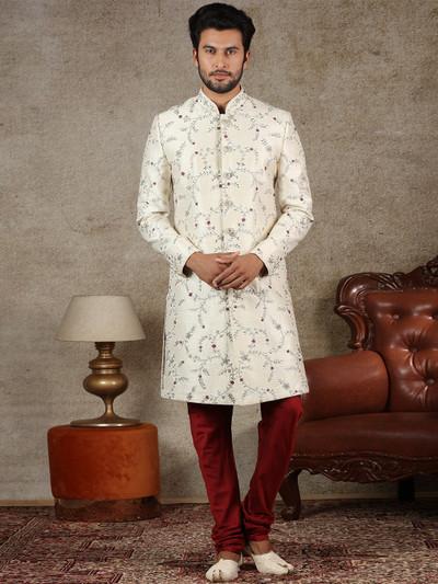 Cream indo western for wedding function in raw silk