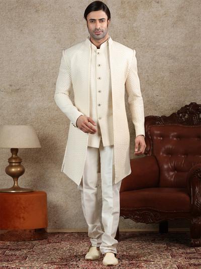 Cream jacket style indo western for wedding function