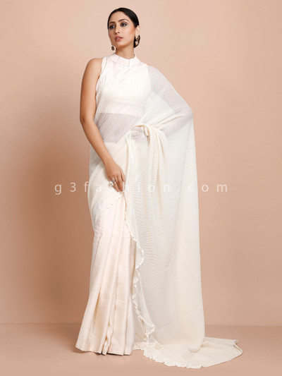 Cream party half and half ready made blouse saree in net satin