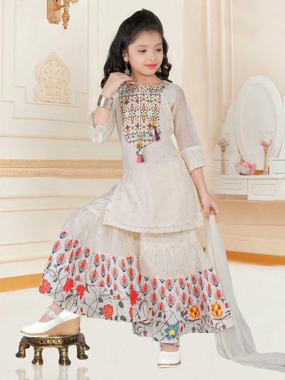 Cream punjabi sharara suit for girls in raw silk