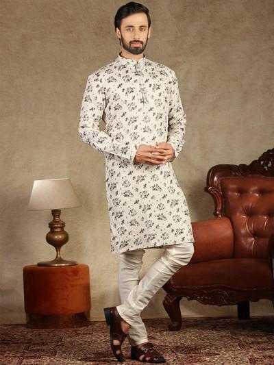Cream printed cotton kurta suit festive wear