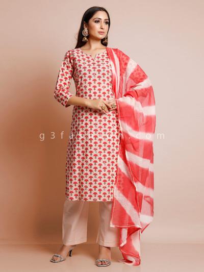 Cream printed cotton palazzo suit