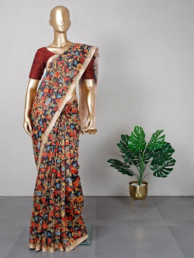 Cream printed cotton saree for festive session