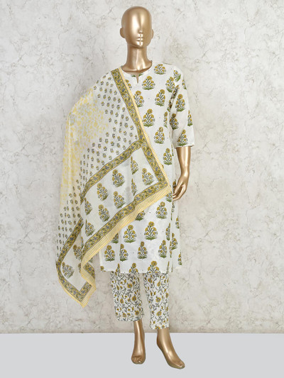 Cream printed pant style suit in cotton