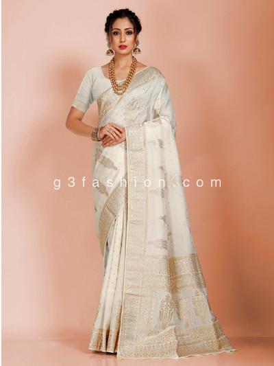 Cream reception saree in dola silk