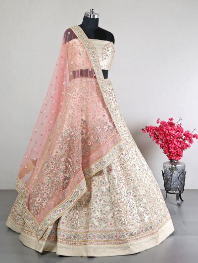 Cream shade wedding and bridal wear lehenga for women