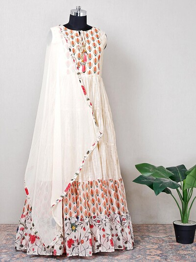 Cream silk anarkali suit for wedding