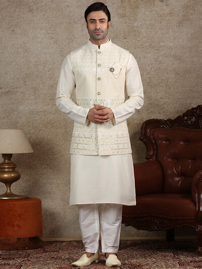 Cream silk fabric waistcoat set for men