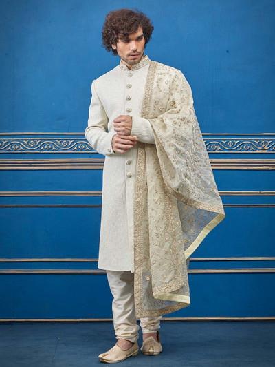 Cream silk thread zari decked sherwani