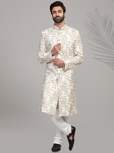 Cream silk wedding wear mens sherwani