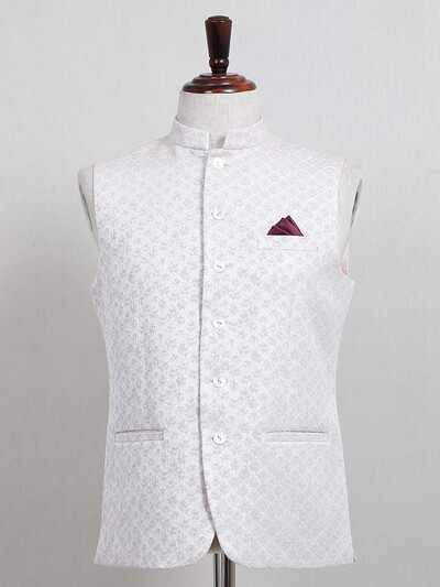 Cream textured cotton silk mens waistcoat