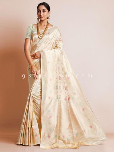 Cream wedding banarasi silk saree design