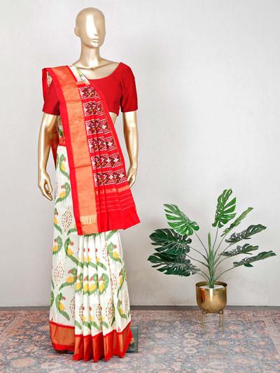 Cream wedding wear patola silk for womens