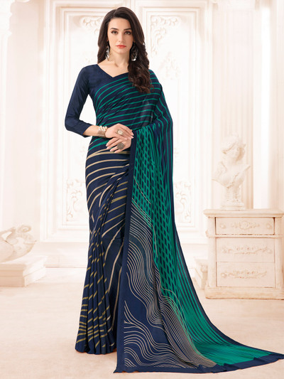 crepe navy printed saree