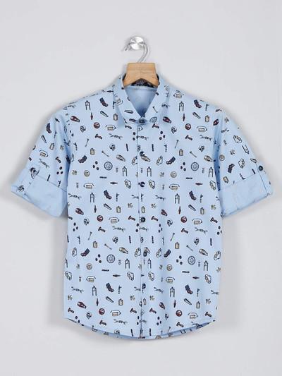 Danaboi blue printed shirt for boys