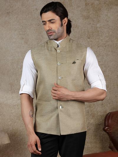 Dark beige solid raw silk waistcoat