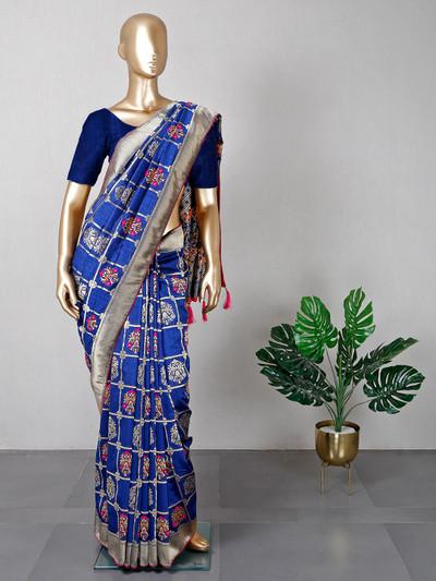 Dark blue muga silk festive wear