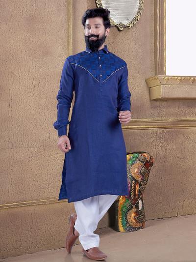Dark blue pathani suit