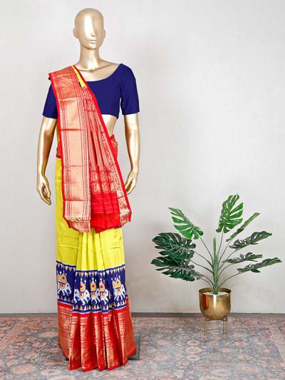 Yellow patola silk saree for wedding functions