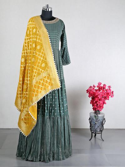 Dark green cotton silk wedding wear anarkali suit