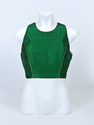 Dark green raw silk raedy made blouse