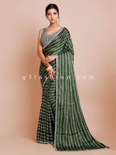 Dark green satin silk wedding saree