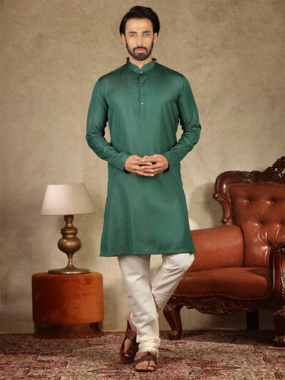 Dark green solid cotton fabric kurta suit