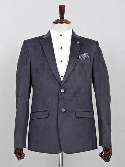 Dark grey terry rayon notch lapel collar blazer