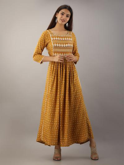 Dashing cotton camel yellow casual wear kurti