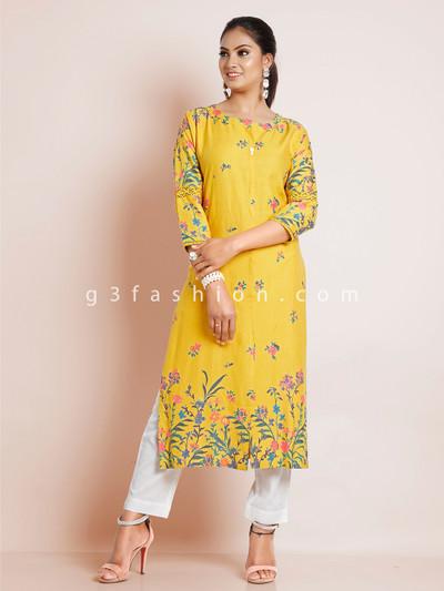 Dashing cotton mustard yellow causal wear kurti