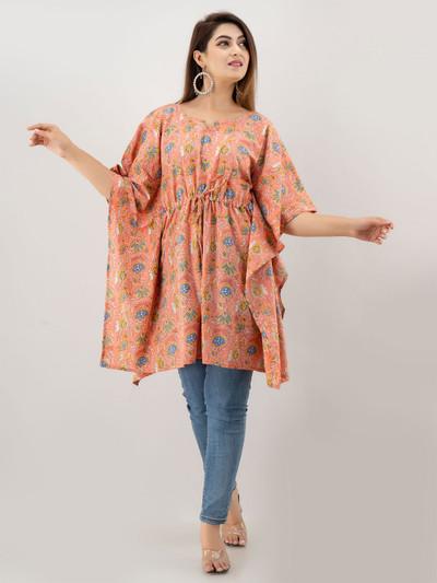 Dashing peach casual wear cotton kurti