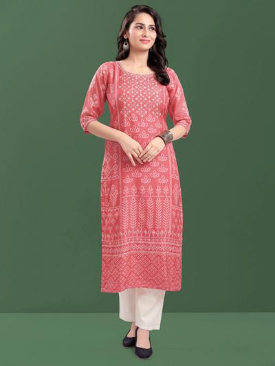 Dashing peach cotton casual wear printed kurti