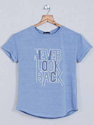 Deal Blue printed casual cotton top