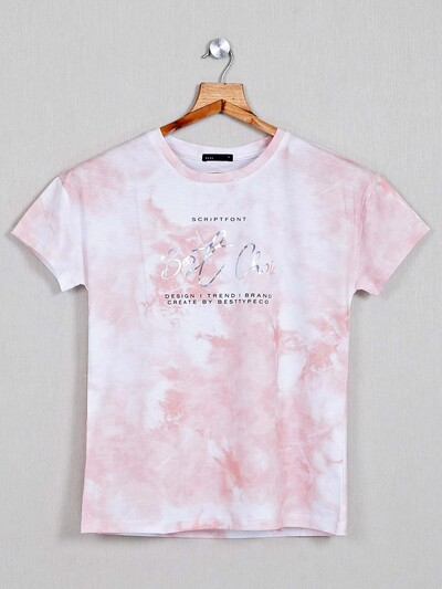 Deal Pink printed round neck top