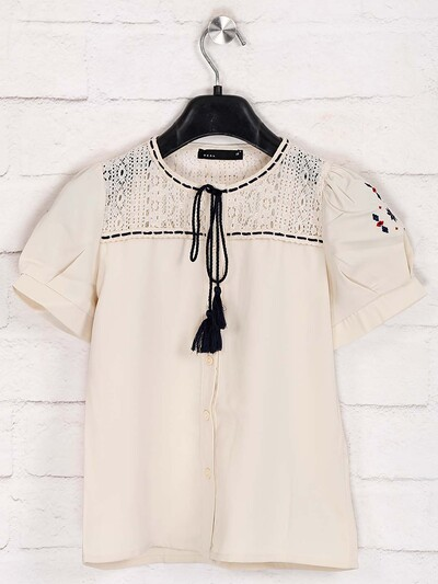 Deal solid cream cotton top