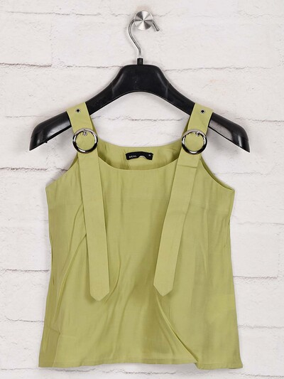 Deal solid olive round neck top