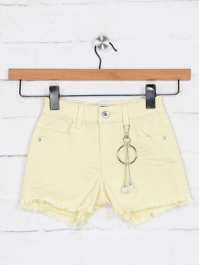 Deal yellow latest denim solid shorts