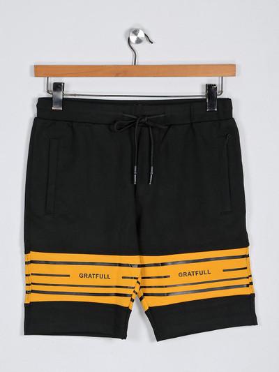 Deepee black printed slim fit cotton shorts