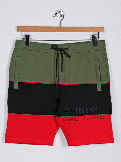 Deepee presented green solid cotton shorts