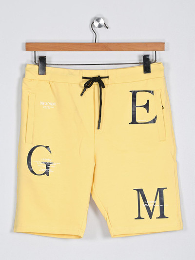 Deepee printed yellow color cotton fabric shorts