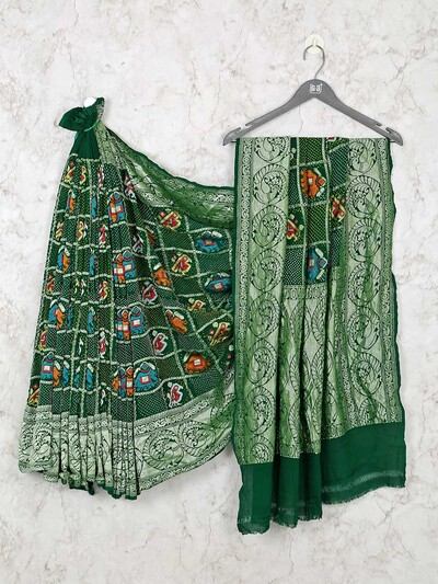 Designer bandhej green saree for wedding