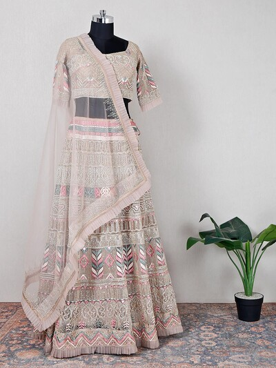 Designer beige hue wedding wear lehenga