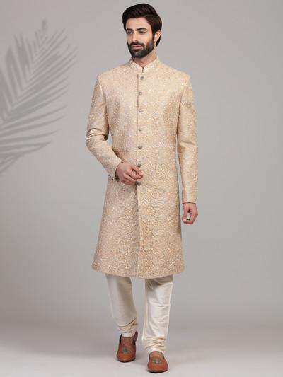 Designer beige silk sherwani