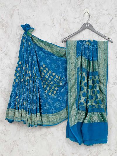 Designer blue saree for wedding in bandhej