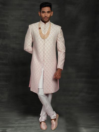 Designer classic pink silk sherwani