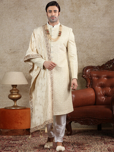 Designer cream color silk fabric sherwani